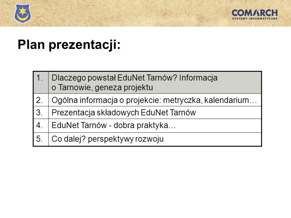 Plan prezentacji: 1.Dlaczego powstał EduNet Tarnów? Informacja o Tarnowie, geneza projektu 2.Ogólna informacja o projekcie: metryczka, kalendarium… 3.