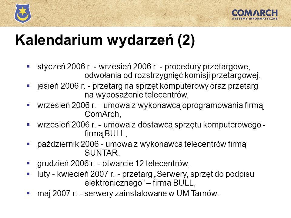 Kalendarium wydarzeń (2) styczeń 2006 r. - wrzesień 2006 r. - procedury przetargowe, odwołania od rozstrzygnięć komisji przetargowej, jesień 2006 r. -