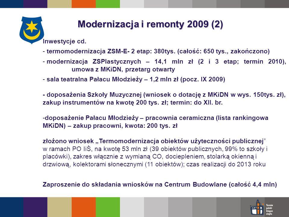 Modernizacja i remonty 2009 (2) Inwestycje cd. - termomodernizacja ZSM-E- 2 etap: 380tys.