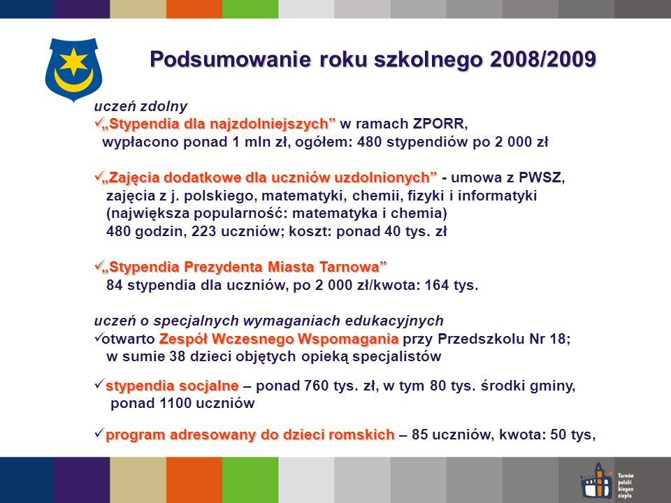 Podsumowanie roku szkolnego 2008/2009 Oferta edukacyjna poszerzona o zajęcia, formy w ramach projektów unijnych tj.