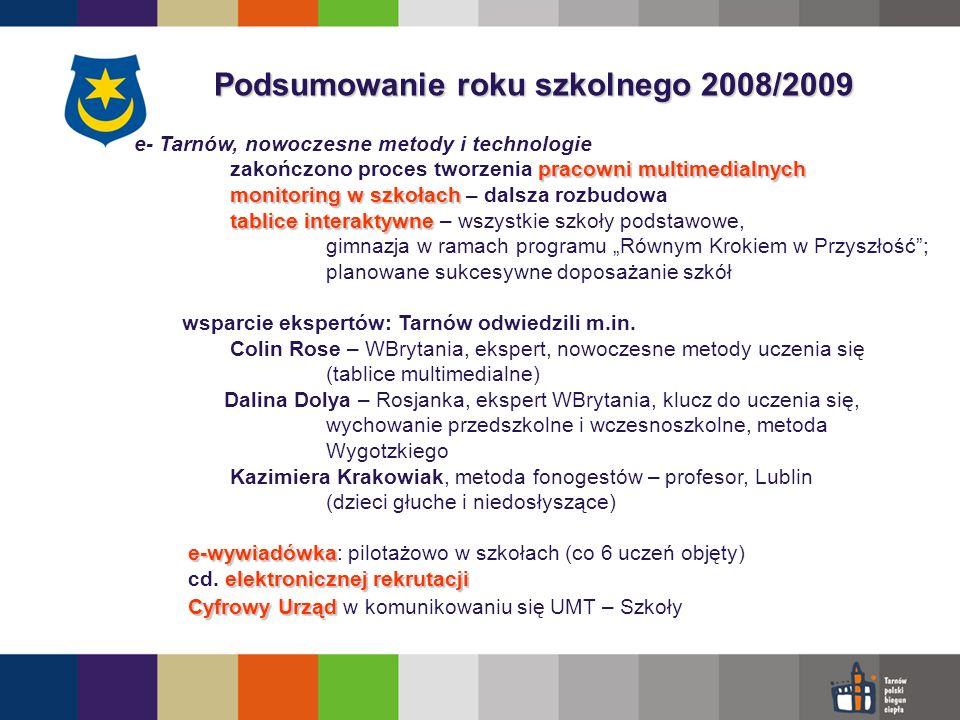 Podsumowanie roku szkolnego 2008/2009 e- Tarnów, nowoczesne metody i technologie pracowni multimedialnych zakończono proces tworzenia pracowni multimedialnych monitoring w szkołach monitoring w szkołach – dalsza rozbudowa tablice interaktywne tablice interaktywne – wszystkie szkoły podstawowe, gimnazja w ramach programu Równym Krokiem w Przyszłość; planowane sukcesywne doposażanie szkół wsparcie ekspertów: Tarnów odwiedzili m.in.