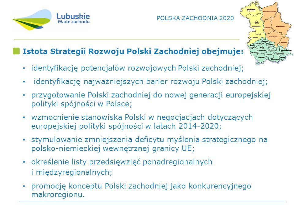 Istota Strategii Rozwoju Polski Zachodniej obejmuje: identyfikację potencjałów rozwojowych Polski zachodniej; identyfikację najważniejszych barier rozwoju Polski zachodniej; przygotowanie Polski zachodniej do nowej generacji europejskiej polityki spójności w Polsce; wzmocnienie stanowiska Polski w negocjacjach dotyczących europejskiej polityki spójności w latach 2014-2020; stymulowanie zmniejszenia deficytu myślenia strategicznego na polsko-niemieckiej wewnętrznej granicy UE; określenie listy przedsięwzięć ponadregionalnych i międzyregionalnych; promocję konceptu Polski zachodniej jako konkurencyjnego makroregionu.
