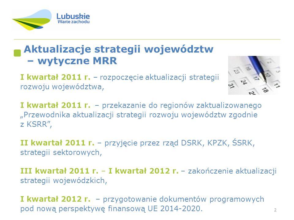 2 Aktualizacje strategii województw – wytyczne MRR I kwartał 2011 r.