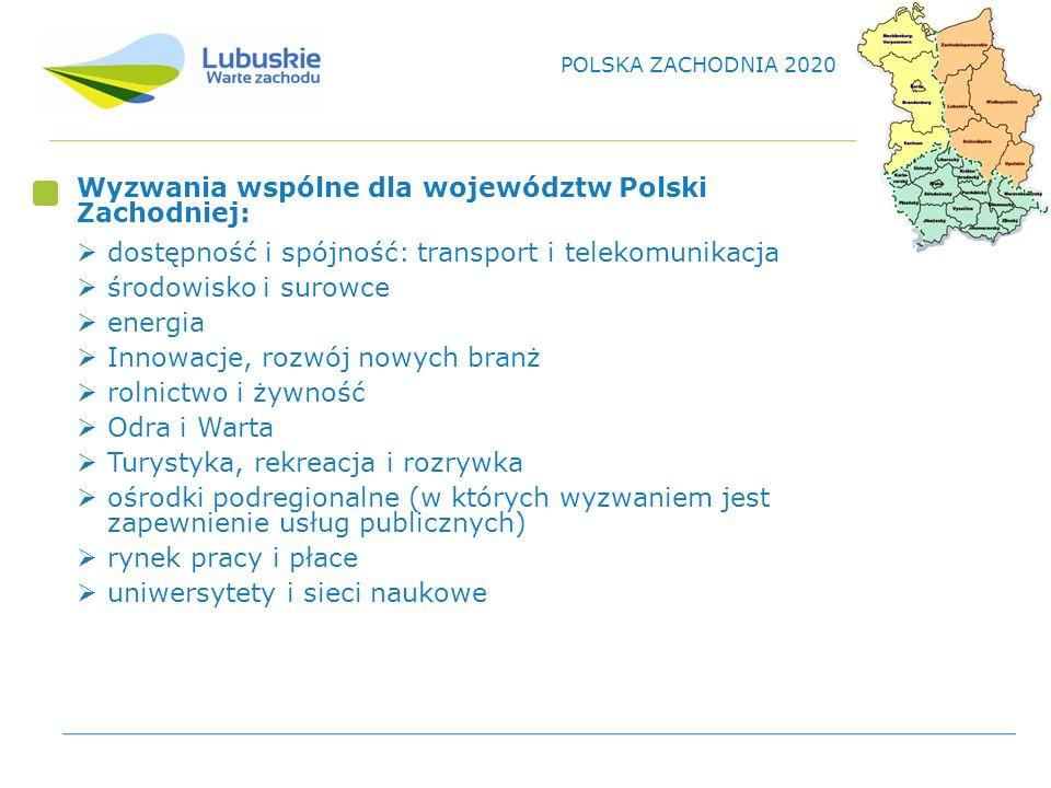 Wyzwania wspólne dla województw Polski Zachodniej: dostępność i spójność: transport i telekomunikacja środowisko i surowce energia Innowacje, rozwój nowych branż rolnictwo i żywność Odra i Warta Turystyka, rekreacja i rozrywka ośrodki podregionalne (w których wyzwaniem jest zapewnienie usług publicznych) rynek pracy i płace uniwersytety i sieci naukowe POLSKA ZACHODNIA 2020