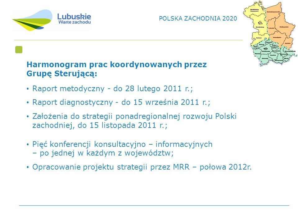 Harmonogram prac koordynowanych przez Grupę Sterującą: Raport metodyczny - do 28 lutego 2011 r.; Raport diagnostyczny - do 15 września 2011 r.; Założenia do strategii ponadregionalnej rozwoju Polski zachodniej, do 15 listopada 2011 r.; Pięć konferencji konsultacyjno – informacyjnych – po jednej w każdym z województw; Opracowanie projektu strategii przez MRR – połowa 2012r.
