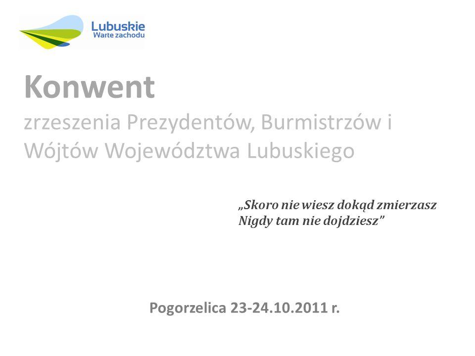 Skoro nie wiesz dokąd zmierzasz Nigdy tam nie dojdziesz Konwent zrzeszenia Prezydentów, Burmistrzów i Wójtów Województwa Lubuskiego Pogorzelica 23-24.10.2011 r.