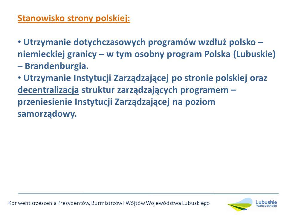 Stanowisko strony polskiej: Utrzymanie dotychczasowych programów wzdłuż polsko – niemieckiej granicy – w tym osobny program Polska (Lubuskie) – Brandenburgia.