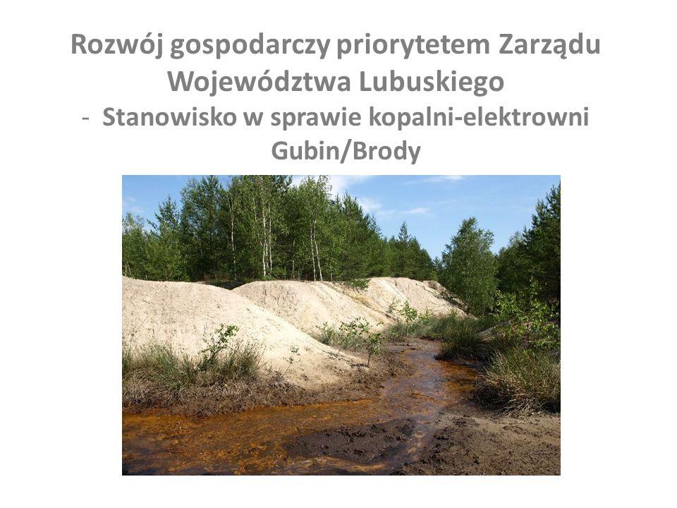 Rozwój gospodarczy priorytetem Zarządu Województwa Lubuskiego -Stanowisko w sprawie kopalni-elektrowni Gubin/Brody