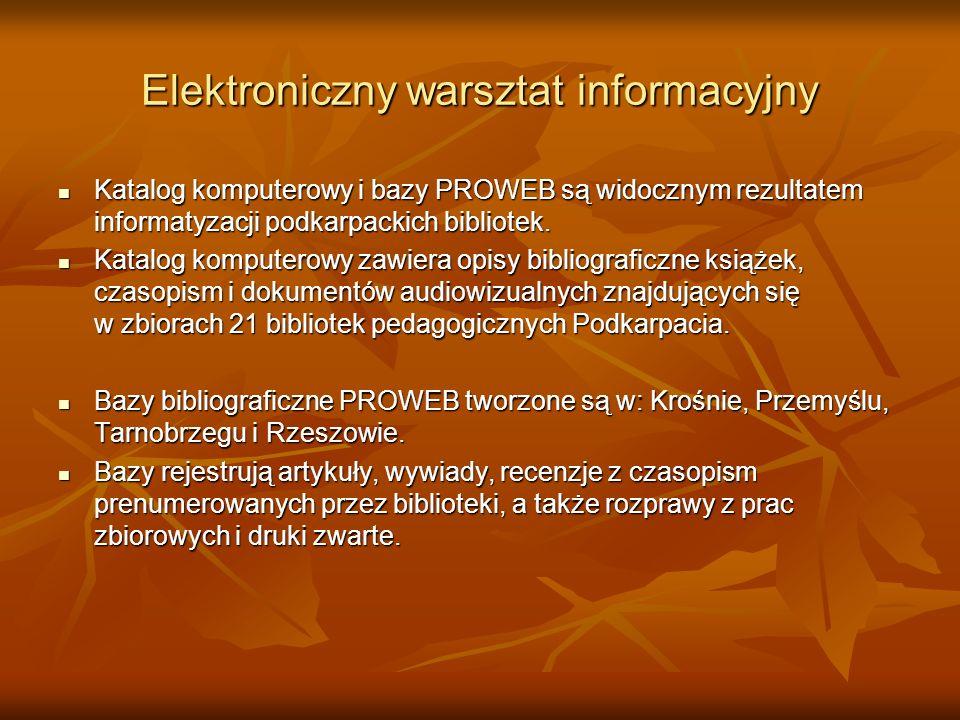 Elektroniczny warsztat informacyjny Katalog komputerowy i bazy PROWEB są widocznym rezultatem informatyzacji podkarpackich bibliotek. Katalog komputer