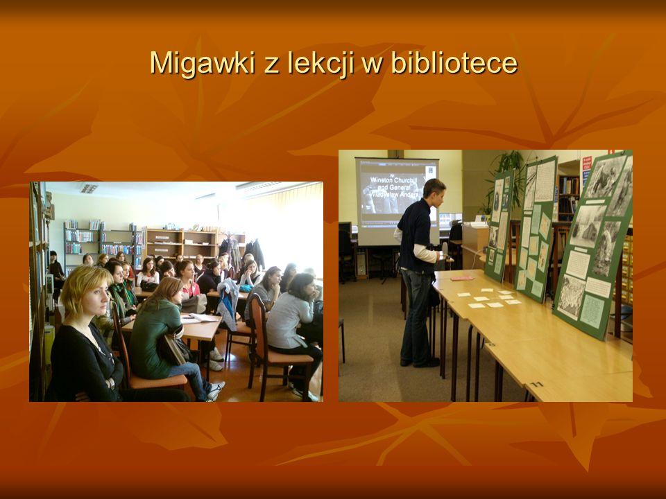 Migawki z lekcji w bibliotece