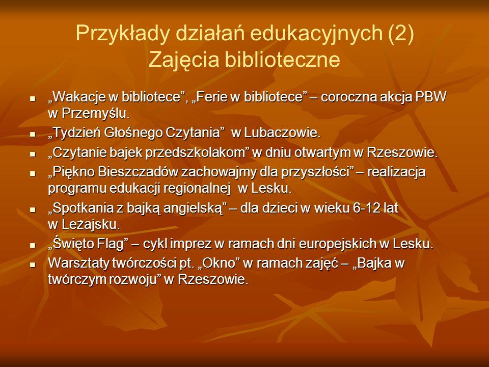 Przykłady działań edukacyjnych (2) Zajęcia biblioteczne Wakacje w bibliotece, Ferie w bibliotece – coroczna akcja PBW w Przemyślu. Wakacje w bibliotec