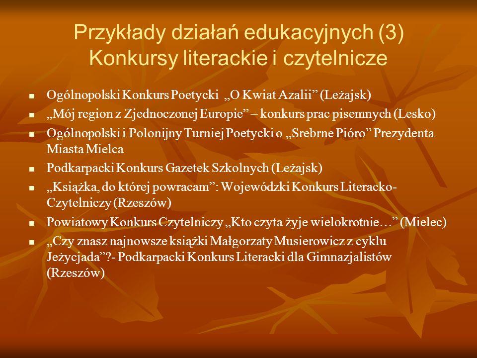 Przykłady działań edukacyjnych (3) Konkursy literackie i czytelnicze Ogólnopolski Konkurs Poetycki O Kwiat Azalii (Leżajsk) Mój region z Zjednoczonej