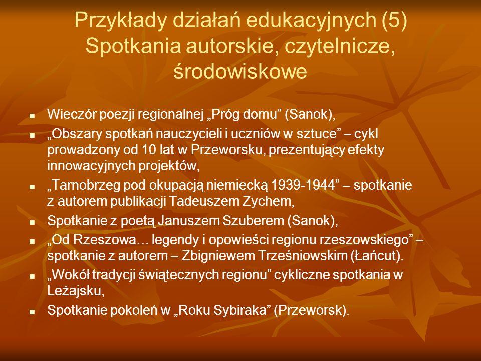 Przykłady działań edukacyjnych (5) Spotkania autorskie, czytelnicze, środowiskowe Wieczór poezji regionalnej Próg domu (Sanok), Obszary spotkań nauczy