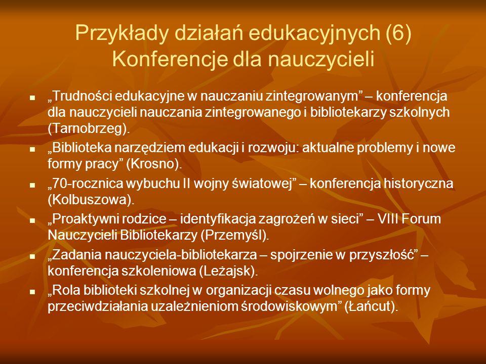 Przykłady działań edukacyjnych (6) Konferencje dla nauczycieli Trudności edukacyjne w nauczaniu zintegrowanym – konferencja dla nauczycieli nauczania