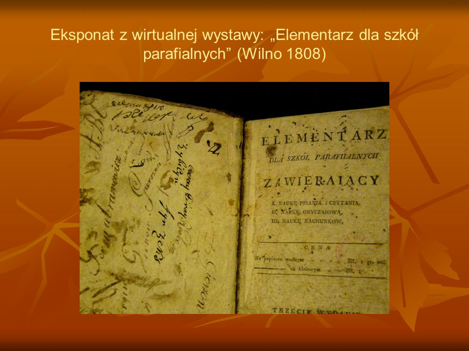 Eksponat z wirtualnej wystawy: Elementarz dla szkół parafialnych (Wilno 1808)