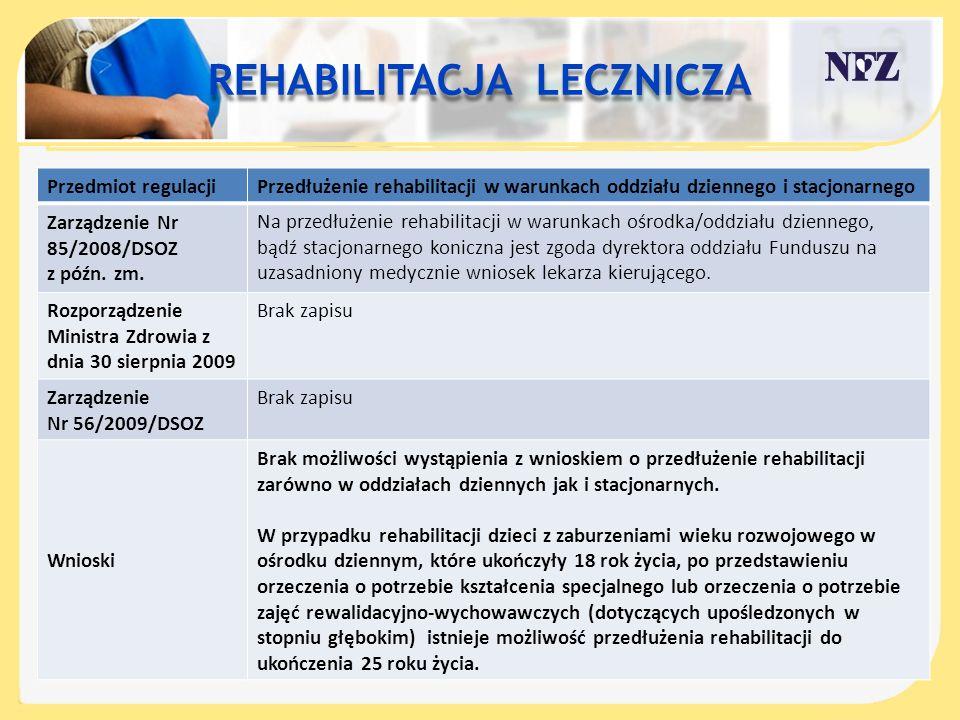 Przedmiot regulacjiPrzedłużenie rehabilitacji w warunkach oddziału dziennego i stacjonarnego Zarządzenie Nr 85/2008/DSOZ z późn. zm. Na przedłużenie r
