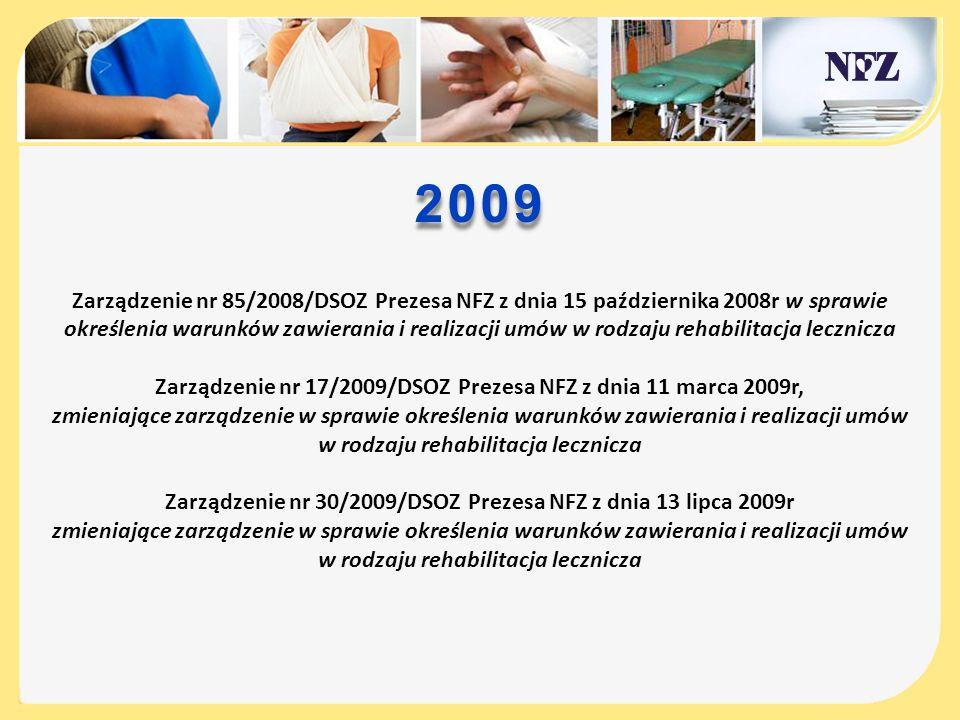 2009 Zarządzenie nr 85/2008/DSOZ Prezesa NFZ z dnia 15 października 2008r w sprawie określenia warunków zawierania i realizacji umów w rodzaju rehabil