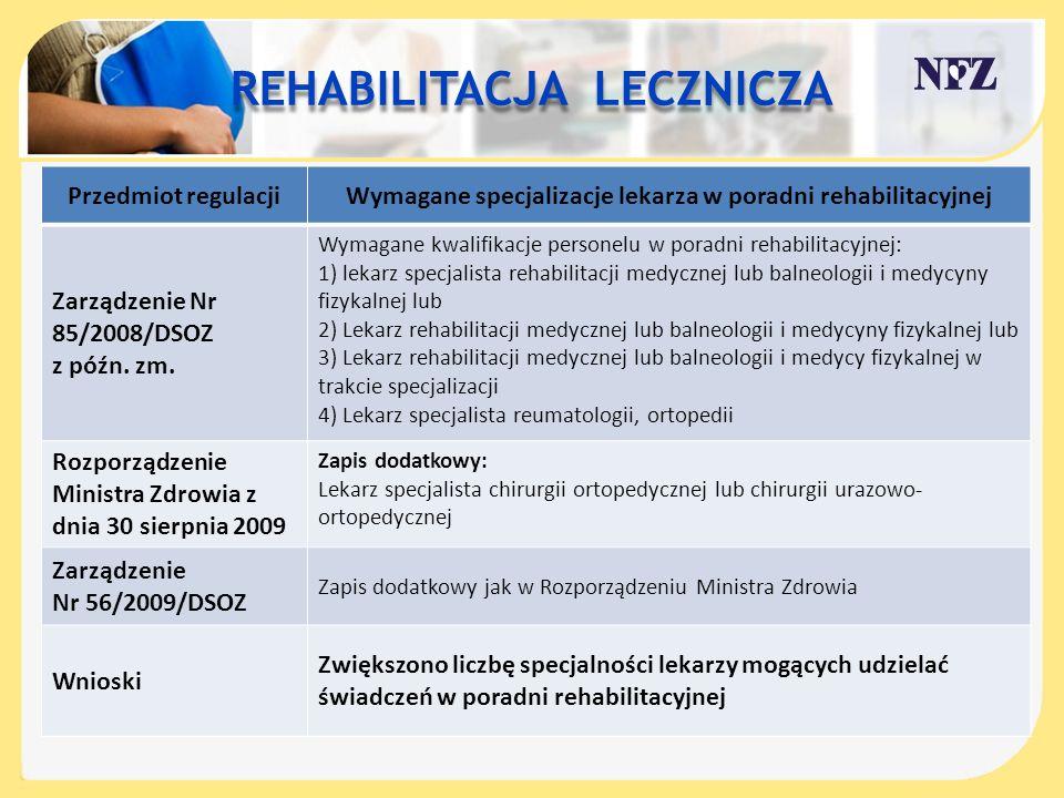 REHABILITACJA LECZNICZA Przedmiot regulacjiWymagane specjalizacje lekarza w poradni rehabilitacyjnej Zarządzenie Nr 85/2008/DSOZ z późn. zm. Wymagane