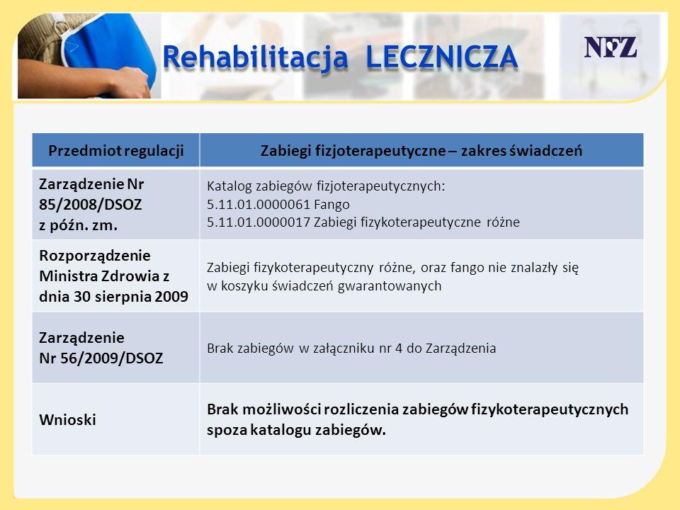 Przedmiot regulacjiZabiegi fizjoterapeutyczne – zakres świadczeń Zarządzenie Nr 85/2008/DSOZ z późn. zm. Katalog zabiegów fizjoterapeutycznych: 5.11.0