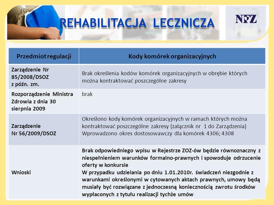 Przedmiot regulacjiKody komórek organizacyjnych Zarządzenie Nr 85/2008/DSOZ z późn. zm. Brak określenia kodów komórek organizacyjnych w obrębie któryc