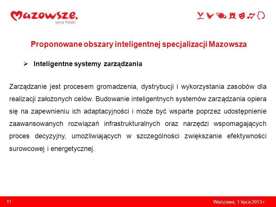 Proponowane obszary inteligentnej specjalizacji Mazowsza Warszawa, 1 lipca 2013 r. 11 Inteligentne systemy zarządzania Zarządzanie jest procesem groma