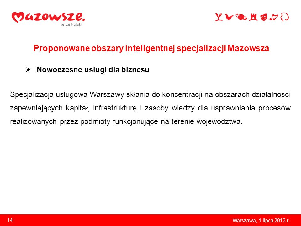 Proponowane obszary inteligentnej specjalizacji Mazowsza Warszawa, 1 lipca 2013 r. 14 Nowoczesne usługi dla biznesu Specjalizacja usługowa Warszawy sk