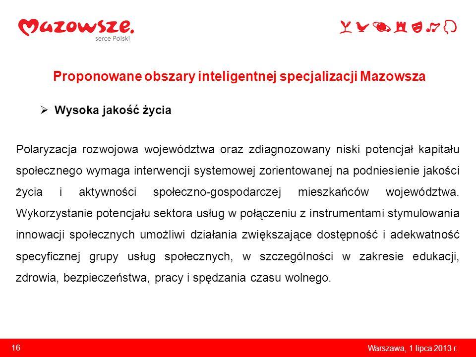 Proponowane obszary inteligentnej specjalizacji Mazowsza Warszawa, 1 lipca 2013 r. 16 Wysoka jakość życia Polaryzacja rozwojowa województwa oraz zdiag