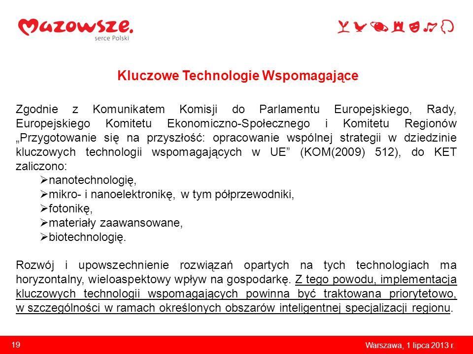 Kluczowe Technologie Wspomagające Warszawa, 1 lipca 2013 r. 19 Zgodnie z Komunikatem Komisji do Parlamentu Europejskiego, Rady, Europejskiego Komitetu