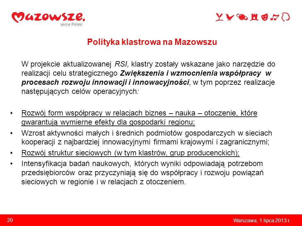 Polityka klastrowa na Mazowszu W projekcie aktualizowanej RSI, klastry zostały wskazane jako narzędzie do realizacji celu strategicznego Zwiększenia i
