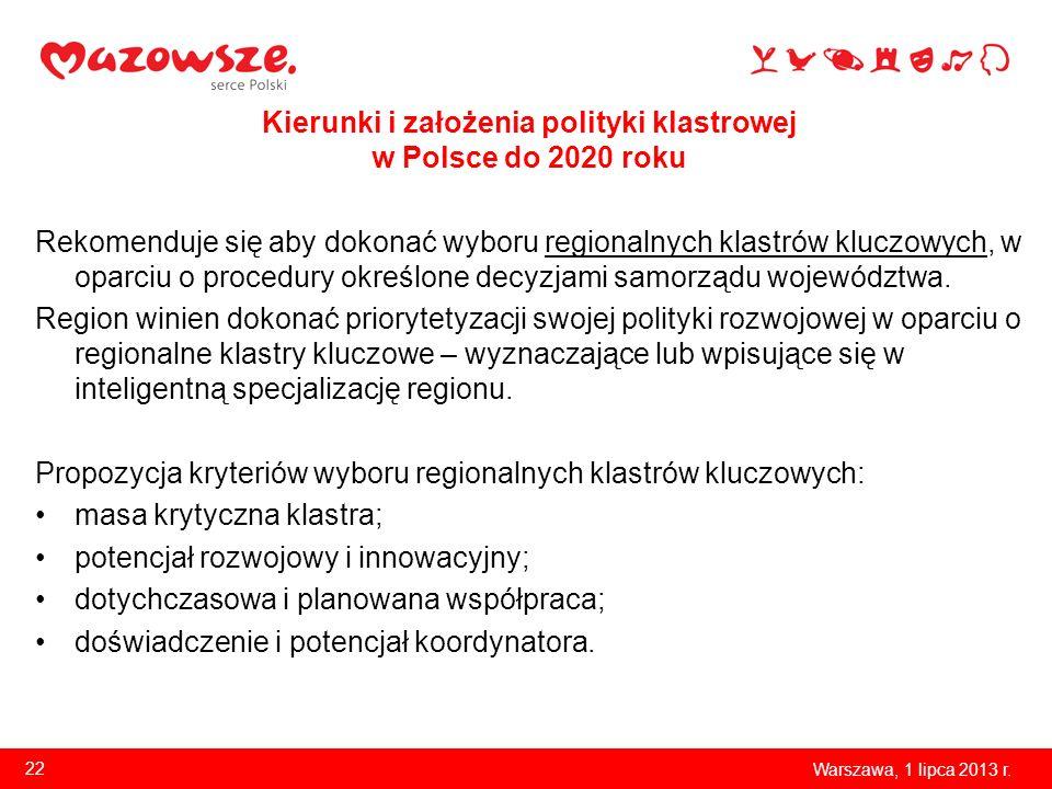 Kierunki i założenia polityki klastrowej w Polsce do 2020 roku Rekomenduje się aby dokonać wyboru regionalnych klastrów kluczowych, w oparciu o proced