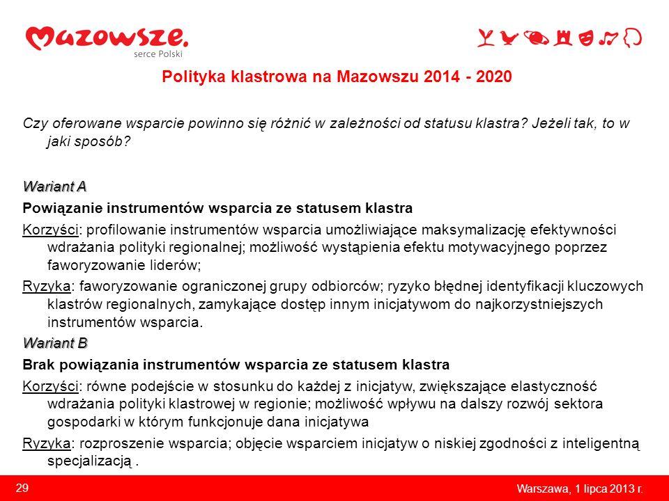 Polityka klastrowa na Mazowszu 2014 - 2020 Czy oferowane wsparcie powinno się różnić w zależności od statusu klastra? Jeżeli tak, to w jaki sposób? Wa