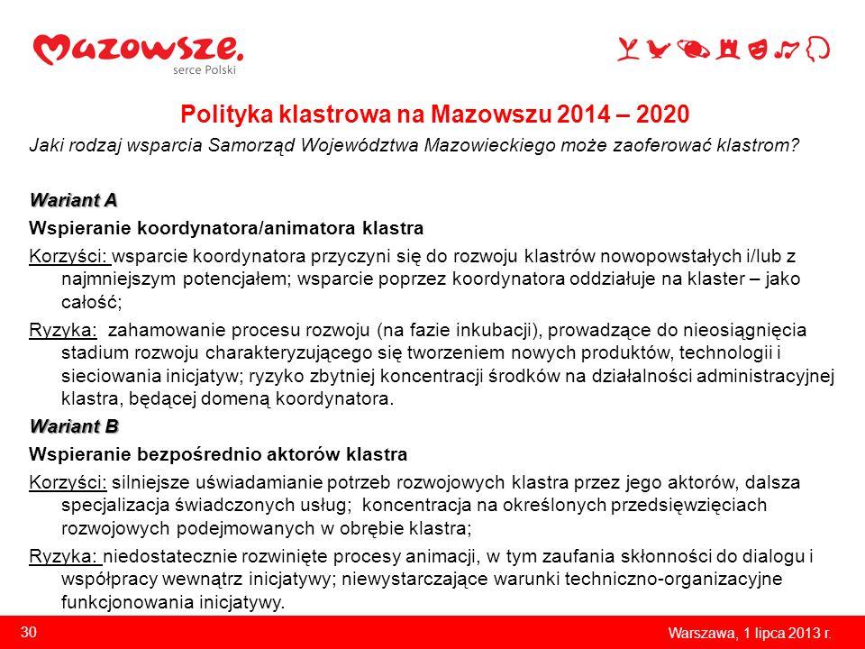 Polityka klastrowa na Mazowszu 2014 – 2020 Jaki rodzaj wsparcia Samorząd Województwa Mazowieckiego może zaoferować klastrom? Wariant A Wspieranie koor