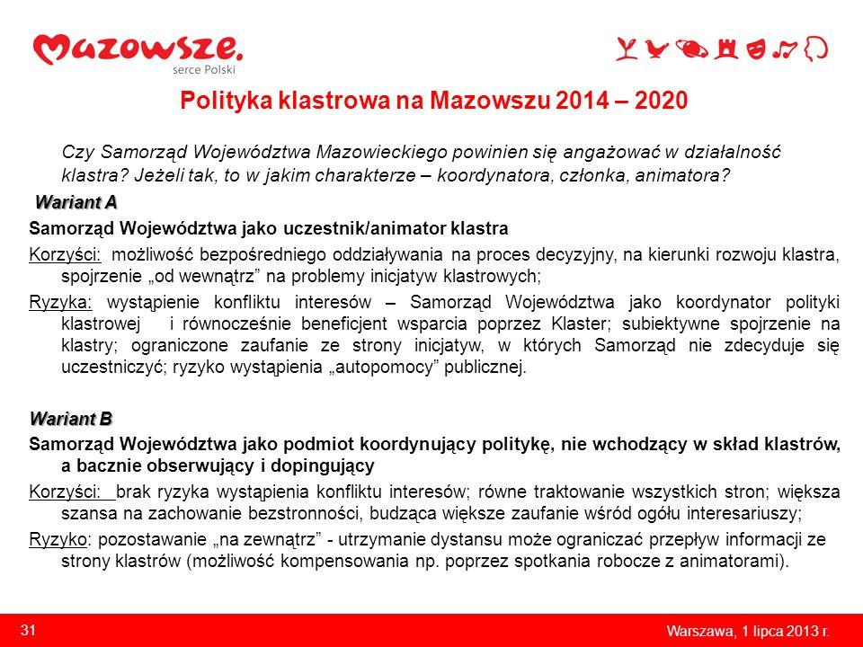 Polityka klastrowa na Mazowszu 2014 – 2020 Czy Samorząd Województwa Mazowieckiego powinien się angażować w działalność klastra? Jeżeli tak, to w jakim