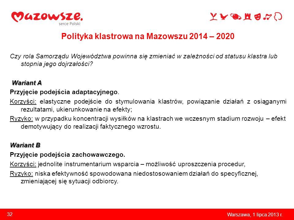 Polityka klastrowa na Mazowszu 2014 – 2020 Czy rola Samorządu Województwa powinna się zmieniać w zależności od statusu klastra lub stopnia jego dojrza