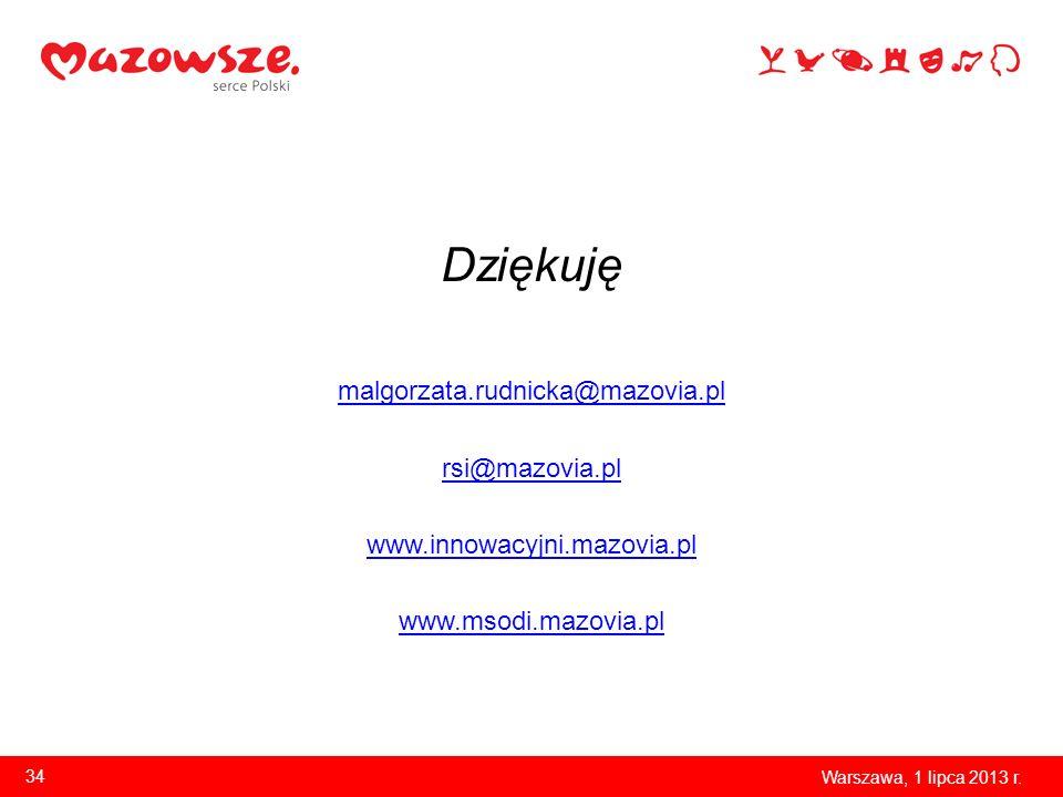 Dziękuję malgorzata.rudnicka@mazovia.pl rsi@mazovia.pl www.innowacyjni.mazovia.pl www.msodi.mazovia.pl Warszawa, 1 lipca 2013 r. 34