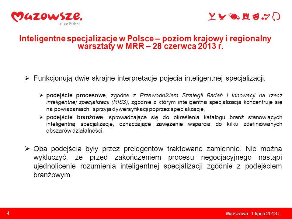 Inteligentne specjalizacje w Polsce – poziom krajowy i regionalny warsztaty w MRR – 28 czerwca 2013 r. Funkcjonują dwie skrajne interpretacje pojęcia