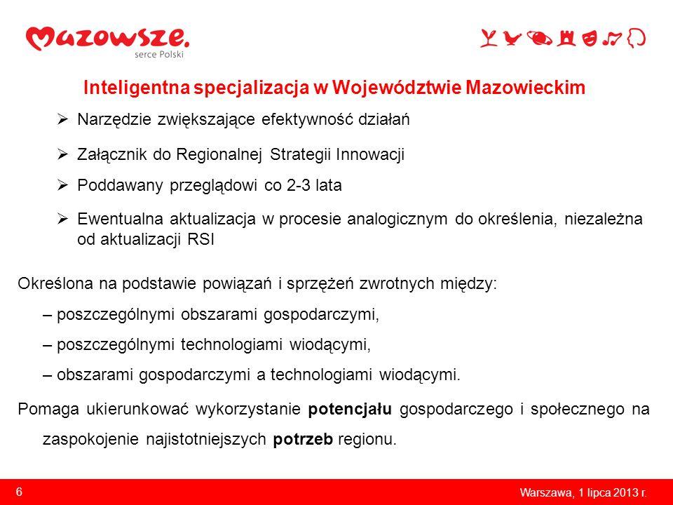Obszary gospodarcze sektor rolno-spożywczy sektor chemiczny sektor medyczny sektor energetyczny sektor IT Technologie wiodące biotechnologia technologie informacyjno- komunikacyjne nanotechnologie elektronika fotonika 7 Procesy usługowe usługi B2B, w tym usługi finansowe usługi B+R Warszawa, 1 lipca 2013 r.
