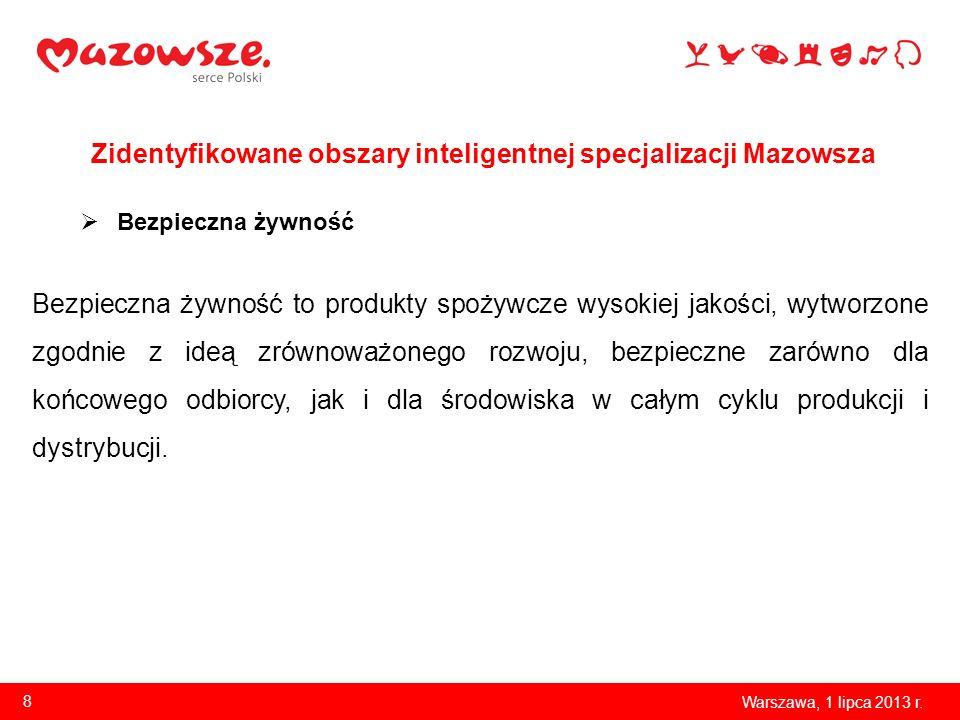 Zidentyfikowane obszary inteligentnej specjalizacji Mazowsza Warszawa, 1 lipca 2013 r. 8 Bezpieczna żywność Bezpieczna żywność to produkty spożywcze w