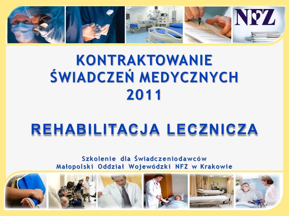 KONTRAKTOWANIE ŚWIADCZEŃ MEDYCZNYCH 2011 REHABILITACJA LECZNICZA Szkolenie dla Świadczeniodawców Małopolski Oddział Wojewódzki NFZ w Krakowie