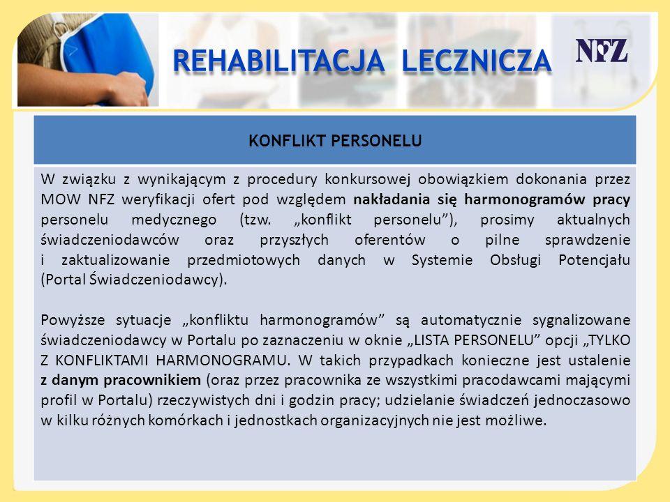KONFLIKT PERSONELU W związku z wynikającym z procedury konkursowej obowiązkiem dokonania przez MOW NFZ weryfikacji ofert pod względem nakładania się h