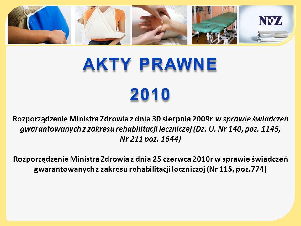 AKTY PRAWNE 2010 Rozporządzenie Ministra Zdrowia z dnia 30 sierpnia 2009r w sprawie świadczeń gwarantowanych z zakresu rehabilitacji leczniczej (Dz. U