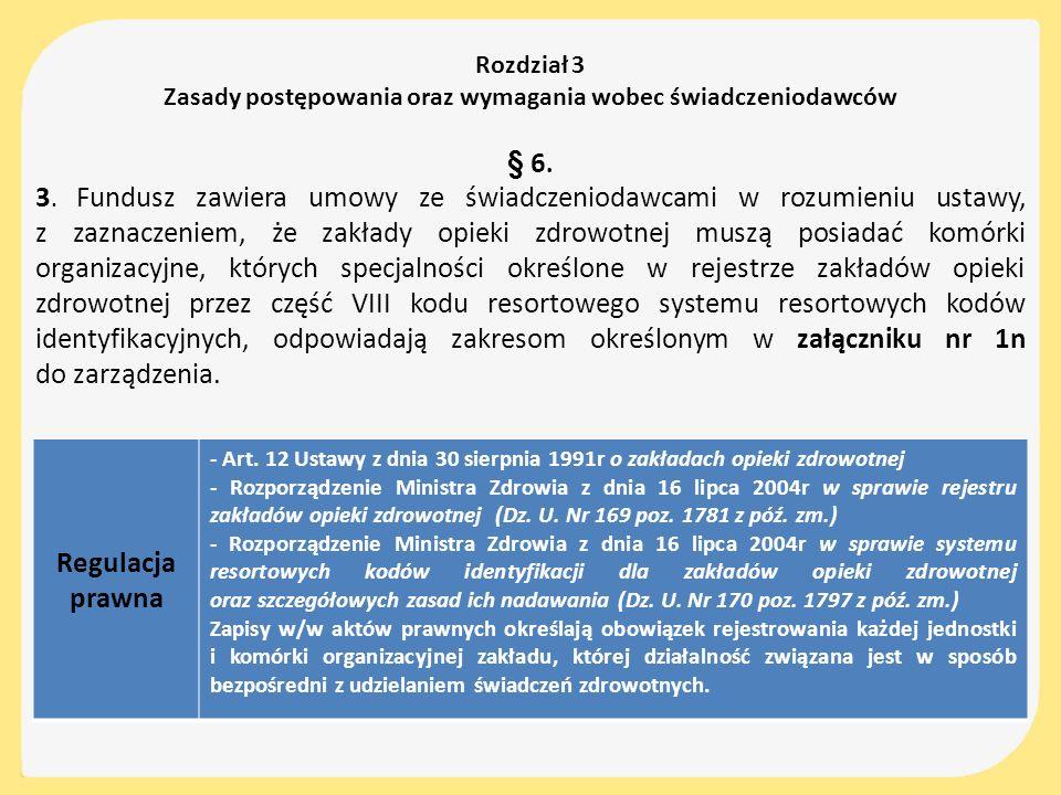 Rozdział 3 Zasady postępowania oraz wymagania wobec świadczeniodawców § 6. 3. Fundusz zawiera umowy ze świadczeniodawcami w rozumieniu ustawy, z zazna