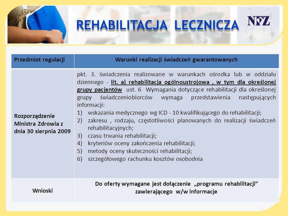 REHABILITACJA LECZNICZA REHABILITACJA LECZNICZA Przedmiot regulacjiWarunki realizacji świadczeń gwarantowanych Rozporządzenie Ministra Zdrowia z dnia