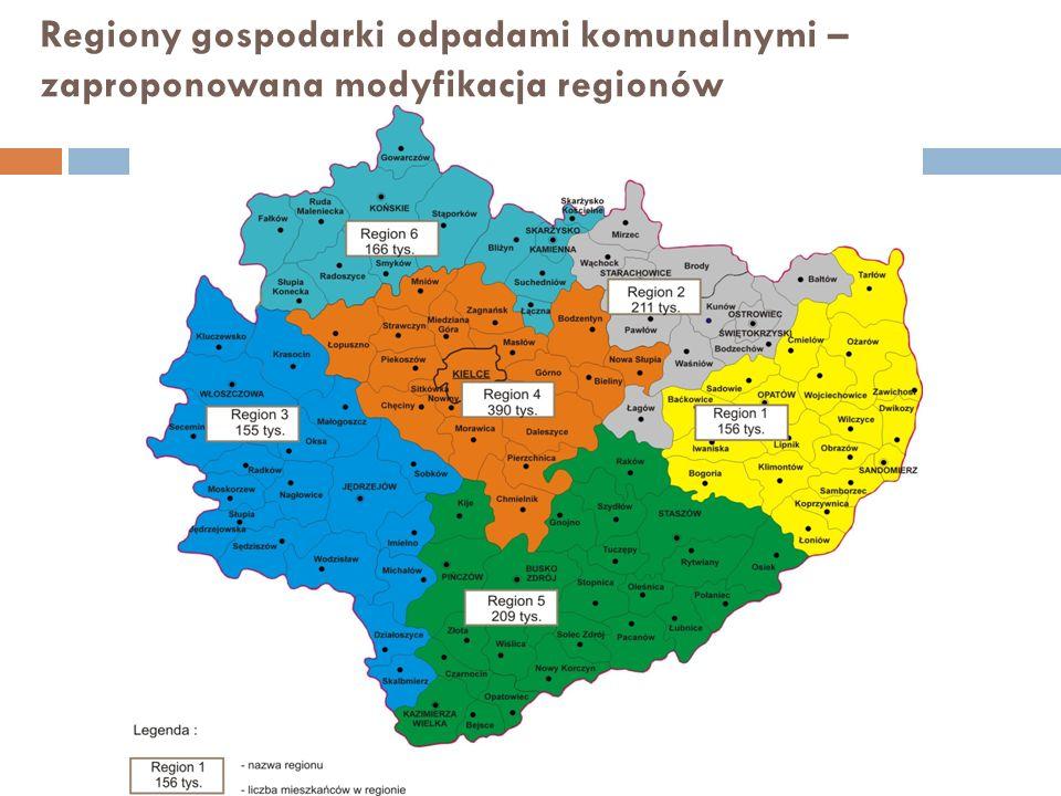 Regiony gospodarki odpadami komunalnymi – zaproponowana modyfikacja regionów