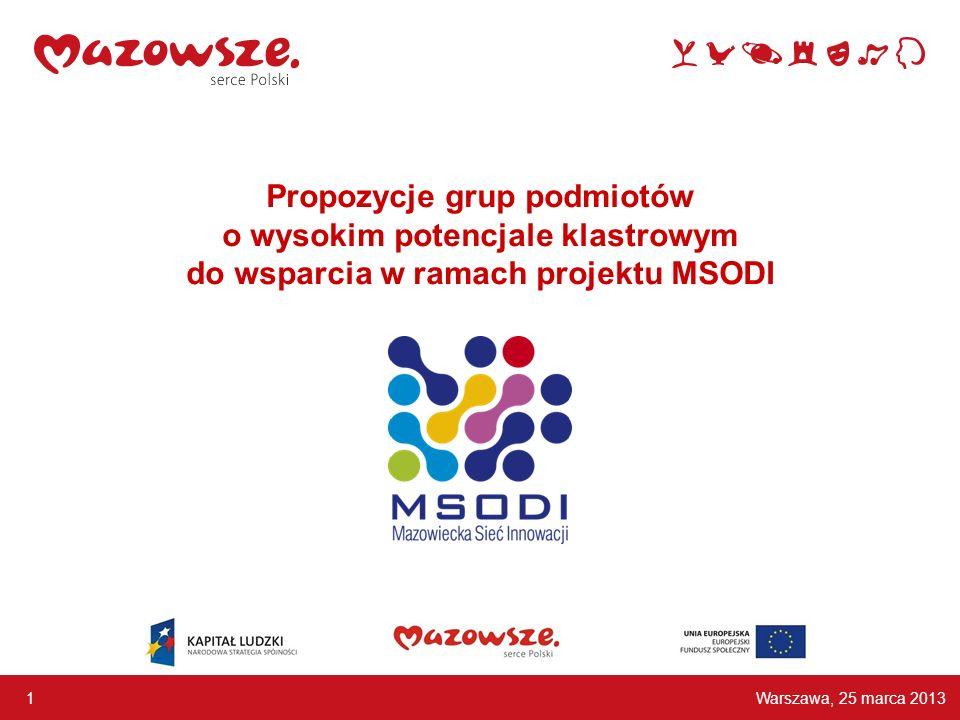 Propozycje grup podmiotów o wysokim potencjale klastrowym do wsparcia w ramach projektu MSODI Warszawa, 25 marca 2013 1