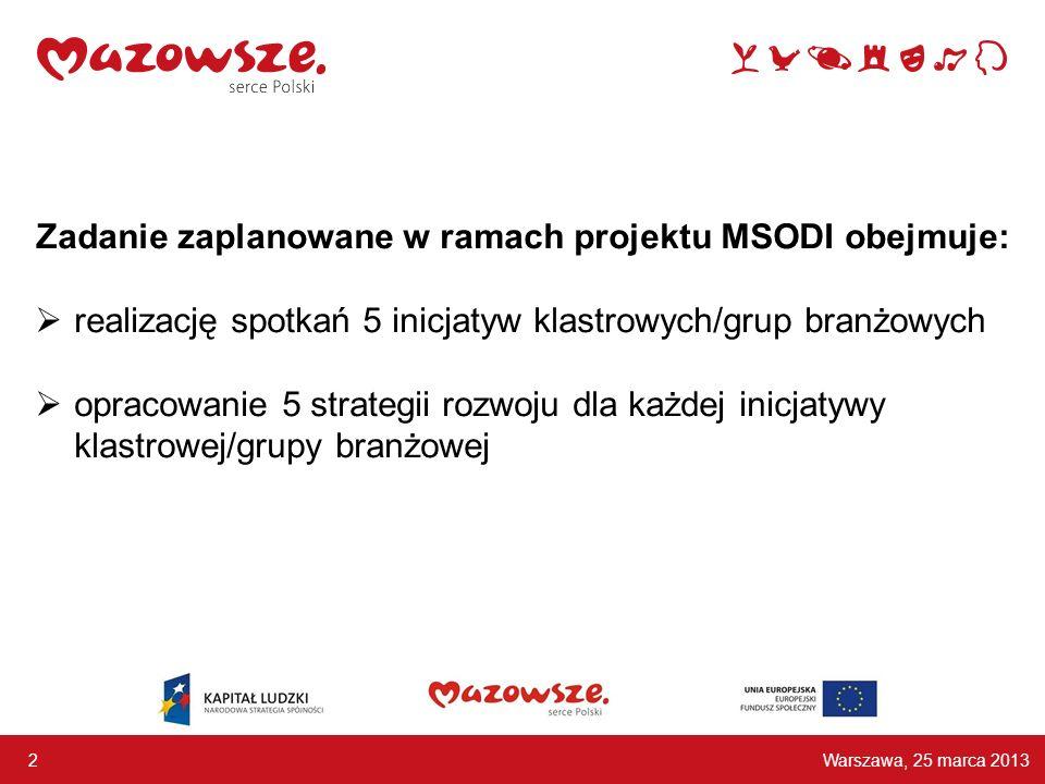 Zadanie zaplanowane w ramach projektu MSODI obejmuje: realizację spotkań 5 inicjatyw klastrowych/grup branżowych opracowanie 5 strategii rozwoju dla każdej inicjatywy klastrowej/grupy branżowej Warszawa, 25 marca 2013 2