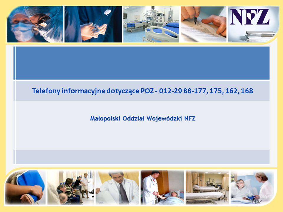 Telefony informacyjne dotyczące POZ - 012-29 88-177, 175, 162, 168 Małopolski Oddział Wojewódzki NFZ