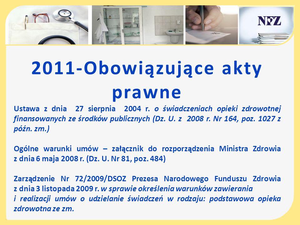 2011-Obowiązujące akty prawne Ustawa z dnia 27 sierpnia 2004 r. o świadczeniach opieki zdrowotnej finansowanych ze środków publicznych (Dz. U. z 2008