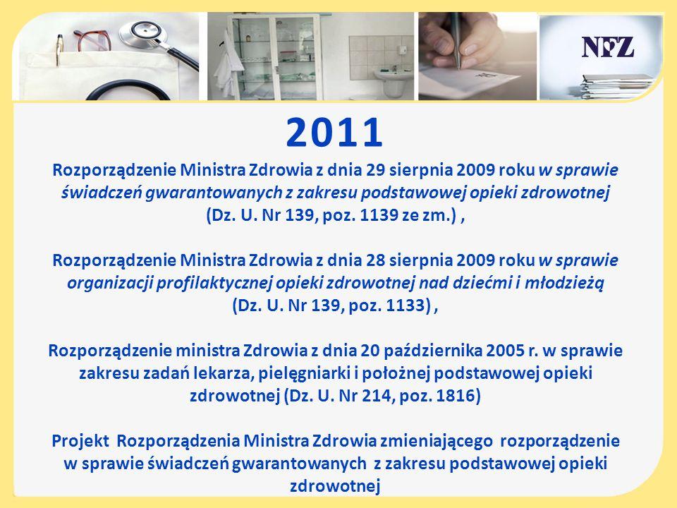 2011 Rozporządzenie Ministra Zdrowia z dnia 29 sierpnia 2009 roku w sprawie świadczeń gwarantowanych z zakresu podstawowej opieki zdrowotnej (Dz. U. N
