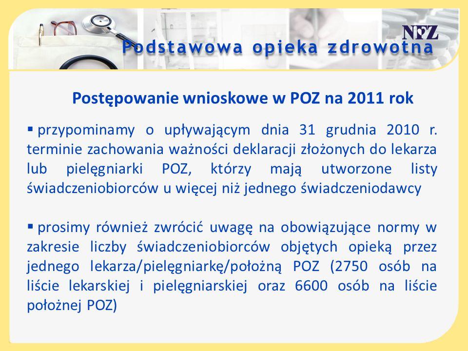 Podstawowa opieka zdrowotna Świadczenia lekarza POZ- dostępność świadczeniodawca zobowiązany jest do zapewnienia dostępności do świadczeń lekarza POZ od poniedziałku do piątku w godz.